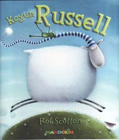 uyumakta zorlanan ve çözüm arayan Koyun Russell. Hikayesi ve çizimi eğlenceli bir kitap