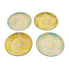 Hand-Painted Lotus Dessert Plates