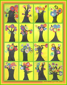 Kandinsky's concentric circles BLOOM on spring Trees (First Grade Art Project) via RainbowsWithinReach