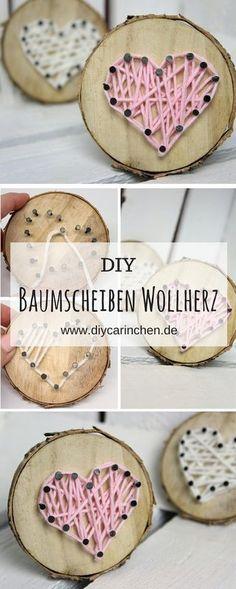 DIY Tree Disc with Heart in String Art make it easy- DIY Baumscheibe mit Herz in String Art ganz einfach selber machen DIY Gift for Valentine& Da- String Art Diy, String Art Tutorials, Diy And Crafts, Crafts For Kids, Kids Diy, Decor Crafts, Room Crafts, Stick Crafts, Recycled Crafts