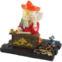 Sitting Munim Ganesh / Ganesha / Ganpati Statue Marble Finish