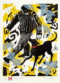"Holly Meade 2013 Prints Dog Walk woodblock & linoleum print  edition: 10  9""x12"" © 2013"