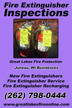 Fire Extinguisher Inspections Juneau, WI (262) 798-0444 Discover the Complete Source for Fire Protection Equipment and Service.. We're Great Lakes Fire Protection!! Call us Today!