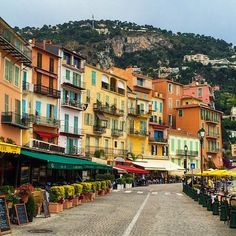 Colorful buildings in Villefranche-sur-Mer on the #FrenchRiviera. Photo courtesy of brianthio on Instagram.