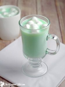 Homemade Mint White Hot Chocolate -- A fast and easy homemade hot chocolate recipe made with white chocolate and mint! creamy, white chocolate with a burst of peppermint flavor to create a perfect decadent Christmas, winter, St. Patrick's Day, or holiday treat. Yum! Definitely making this ASAP!