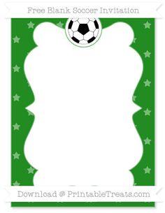 Free Forest Green Star Pattern Blank Soccer Invitation