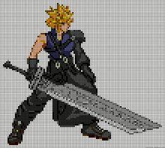 Cloud Final Fantasy perler bead pattern