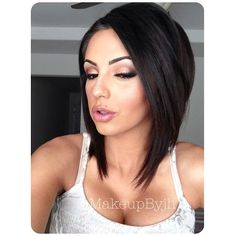 Gorgeous long angled bob haircut, chic looks like shes on dope tho lol