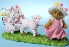 Cherished Teddies: Easter Bears - Girl Pulling Cart