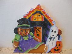 HP Gingerbread Halloween haunted house Shelf Sitter hand painted USA