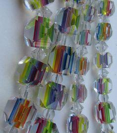 Art Deco Bohemian Rainbow Iris Glass Cube Beads Crystal Long Necklace  | eBay  £150.00 (BOA) +6.50PP