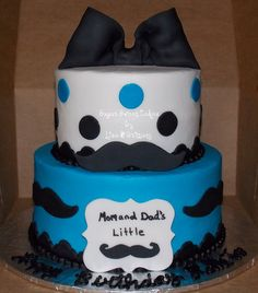 """Mustache  - 6"""" & 8"""" cakes iced in buttercream w/fondant decorations. This cake was made for a little girls birthday... not sure why they wanted a mustache cake for a girl, but we had fun making it. TFL!"""