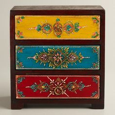 Multicolor Painted 3-Drawer Chest from Cost Plus World Market. Saved to Things I want as gifts. #furniture #boho.