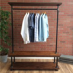Industrial Pipe Clothing Rack with Cedar Wood Shelves | Triple Shelf