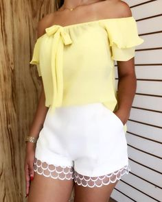Swans Style is the top online fashion store for women. Summer Work Outfits, New Outfits, Chic Outfits, Spring Outfits, Cute Fashion, Womens Fashion, Lace Outfit, White Shorts, Fashion Dresses
