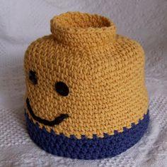 Crochet Blankets For Men Ravelry: Blockhead Man Hat perfect for LEGO Bricks fans crochet pattern by Darleen Hopkins - Crochet Lego, Crochet Kids Hats, Crochet Amigurumi, Crochet Beanie, Crochet Gifts, Crochet Clothes, Crochet Toys, Crochet Baby, Knitted Hats