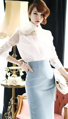 f47de808f8c5ee Fashiontroy Smart elegant long sleeves lapel collar white see throughsheer  ribbon organza shirt Starbucks Uniform
