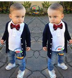 Children's clothing sets Baby boy suit set kids cotton cardigan coats+t-shirts+jeans+bow