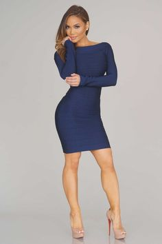 Blaine Bandage Dress - Navy