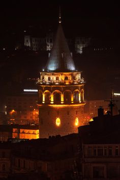 Galata Tower In Istanbul illuminated during a rainy night, Turkey...... by Stefan Holm on 500px