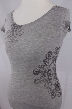 Lola Sz Small Womens Grey tshirt cap sleeve design on bust and side u neck. | eBay!