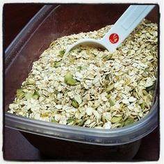 Make your own oatmeal healthy mix in a 64 0z container, then just scoop out your serving. A great idea for fall & winter when I eat allot of oatmeal for breakfast.