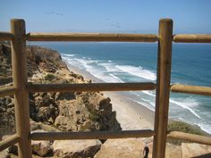View of Torrey Pines beach from hiking trail.