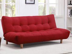 Sofá cama clic-clac de tela VINCENT - Rojo