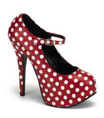 Bordello Teeze Red Polka Dot Mary Jane Platform   Retro Pin Up Shoes