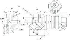 How to create a mechanical part using CATIA Part Design 47 Technical Drawings, 3d Drawings, Mechanical Engineering Projects, Autocad Isometric Drawing, Mechanical Design, Designs To Draw, Design Model, Plane, Automobile