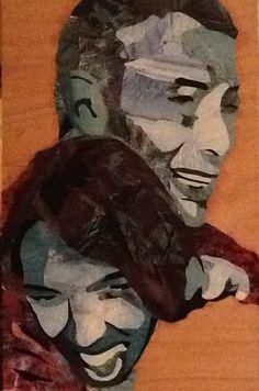 Yannick et Francoise Collage sur bois 34x58 Ko
