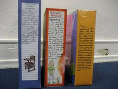 Cereal Book Report  *Back*: Summary *Front*: Title, Author, Awards, Illustration *Side 1*: Write a recommendation, citing text reasons to support it. *Side 2*: Draw an illustration of your favorite part.