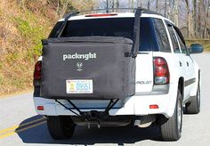 Cargo Saddlebag-backpack for your vehicle. It mounts to your roof rack and sits behind your car. The design means it's easy to load and access plus it creates no aerodynamic drag unlike a rooftop carrier. You get better mileage so you're saving on gas.