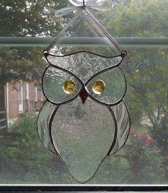Stained Glass Owl Suncatcher - Bird - Window Decor - Garden Art - Owl Ornament - Nature Decor - Clear Glass Owl - Housewarming Gift by StainedGlassYourWay on Etsy