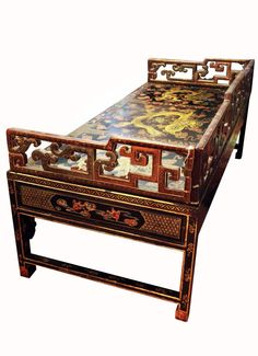 CHINESE SHAPED GILT DECORATION LACQUER THREE-RAILI - by Metropolitan Auction