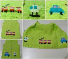helikopter, tren ve araba işlemeli tunus işi yeşil bebek yeleği çok şirin olmuş. en güzel bebek örgüleri, tığ işi ve anlatımlı örgü modelleri 10marifet.org'da