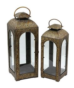 Take a look at this Stamped Metal Lantern Set by Privilege on #zulily today!