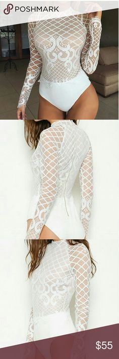 White mock neck lace bodysuit White mesh bodysuit with lace applique, zipper back. Is the perfect top to complete any outfit for any occasion.   Excellent quality  Fits true to size Tops