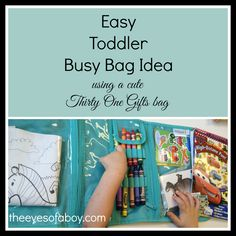 Easy Toddler Busy Bag Idea - kids, crayons, art, stickers, coloring book - inspired by a Thirty One Gifts Timeless Beauty Bag https://www.mythirtyone.com/555446