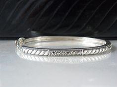 """Vintage Sterling Silver JUDITH JACK Marcasite Hinge Cable Bangle Bracelet 7"""" #JudithJack #Bangle"""