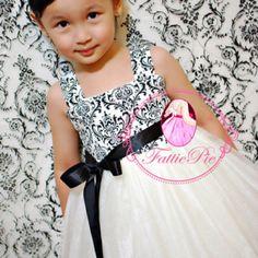 Black and White Damask Flower Girl Dress