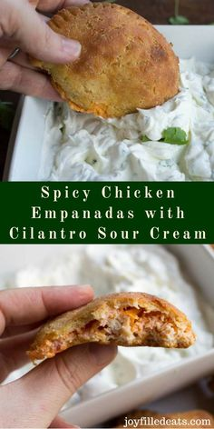 Spicy Chicken Empanadas with Cilantro Sour Cream - Low Carb, Grain Free, THM S - These are perfect to serve during football playoffs. With a cheesy, spicy filling they are the ideal game food. via @joyfilledeats