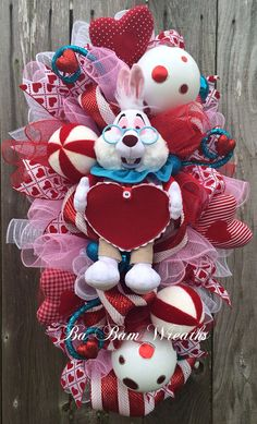 Valentine Wreath Valentine Swag Alice In by BaBamWreaths on Etsy