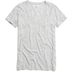 MADEWELL Slub V-Neck Pocket Tee ($18) ❤ liked on Polyvore featuring tops, t-shirts, shirts, tees, hthr marble, long length t shirts, pocket shirt, polish t shirts, v-neck tee and long tee