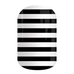 This classic design features white stripes on a solid black background.      #BlackWhiteStripeJN Jamberry Nail Wraps