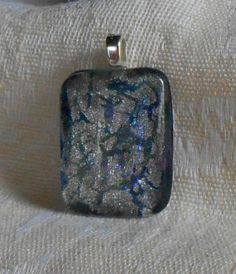 Unique Luminous blue and silver cabochon pendant by BeautyOffered, $15.00