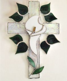 Stained Glass Cross Overlayed With Calla by GlassofDistinction, $21.95