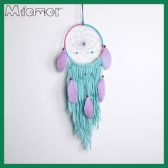 New Fashion Gift India Purple Feathers Dreamcatcher Wind Chimes Indian Style Feather Pendant Dream Catcher Regalo Amor036