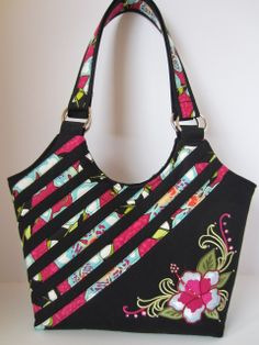 Embroidered Hibiscus Handbag with Swarovski Crystals Purse Tote Diaper Bag Purse Fabric Handbags, Fabric Purses, Fabric Bags, Bag Pattern Free, Bag Patterns To Sew, Patchwork Bags, Quilted Bag, Diaper Bag Purse, Diy Purse