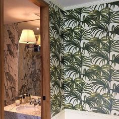 Reminiscent of 1970s #palmsprings, P A L M E R A L is ideal for any room in your home, from bathrooms to bedrooms.  @pinpinabkk #wallpaper #interiors